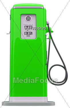 Vintage Green Fuel Pump Isolated Over White Background. Side View Stock Photo