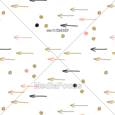 Vintage Hand Drawn Doodle Seamless Pattern With Black, Blue And Gold Spots And Arrows. Design For Paper, Wallpaper, Textile, Fabric, And Other Progects Stock Photo