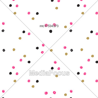 Vintage Hand Drawn Doodle Seamless Pattern With Black, Pink And Gold Dots. Polka Dot Cute Background. Design For Paper, Wallpaper, Textile, Fabric, And Other Progects Stock Photo