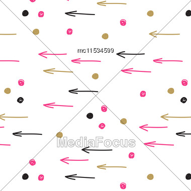 Vintage Hand Drawn Doodle Seamless Pattern With Black, Pink And Gold Spots And Arrows. Design For Paper, Wallpaper, Textile, Fabric, And Other Progects Stock Photo