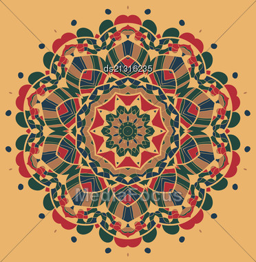 Vintage Mandala Of Orange-red Color With Place For Your Text Stock Photo