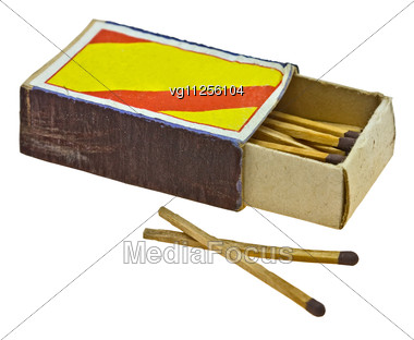 Vintage Matches In The Opened Box Stock Photo
