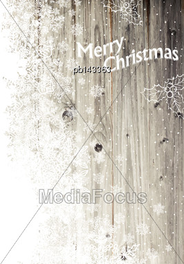 Vintage Merry Christmas Greeting Card. Vertical Design, Isolated Left Side Stock Photo