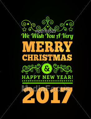 Vintage Merry Christmas And Happy New Year Background. Vector Illustration Stock Photo