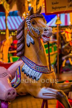 Vintage Merry-go-round Wooden Horses Stock Photo