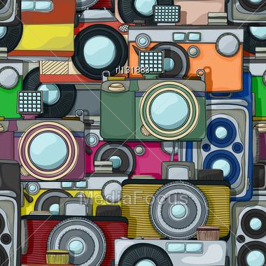 Vintage Multicolor Photo Cameras Pattern Stock Photo