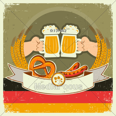Vintage Oktoberfest Background With Hands And Beers.Vector Illustration On Old Paper For Text Stock Photo