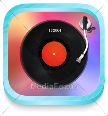 Vintage Record Player Icon Illustration Over White Background Stock Photo