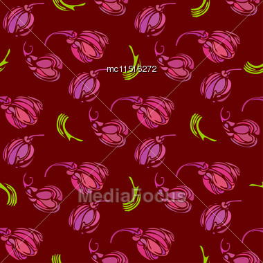 Vintage Seamless Pattern With Decorative Violet Tulips And Leaves Stock Photo