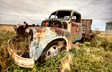 Vintage Truck Abandoned Saskatchewan Field Canada Stock Photo
