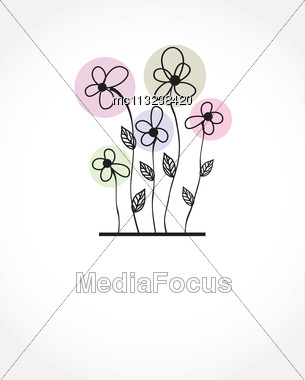 Vintage Vector Frame On Floral Beautiful Background Stock Photo