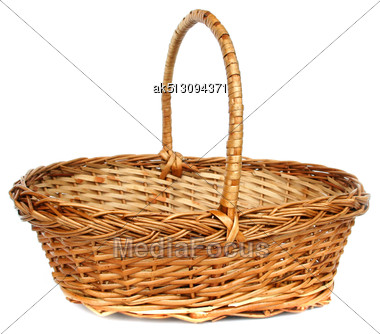 Vintage Willow Basket For Fruits Stock Photo
