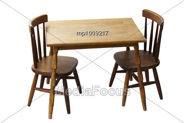 Stock Photo Vintage Wood Table Chair Set Children Image Mp1009217