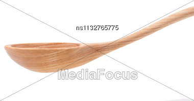 Vintage Wooden Spoon Isolated On White Background Stock Photo