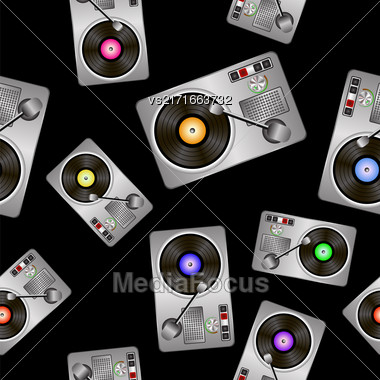 Vinyl Record Players Seamless Pattern On Black Background Stock Photo