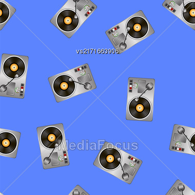 Vinyl Record Players Seamless Pattern On Blue Background Stock Photo