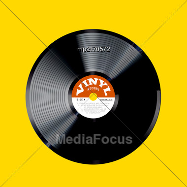Vinyl Record Vector Illustration. Photorealistic Disc Design On A Yellow Background Stock Photo
