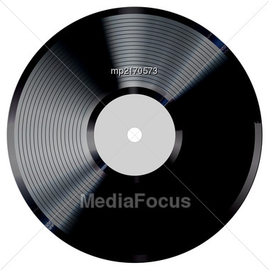 Vinyl Record Vector Illustration. Photorealistic Disc Design On A White Background Stock Photo