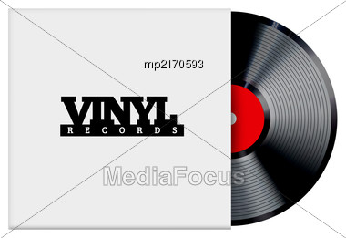 Vinyl Record Vector Illustration. Photorealistic Disc Design On A White Background With A Cardboard Box Stock Photo