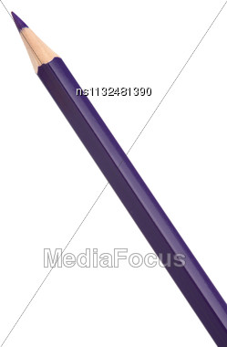 Violet Colouring Crayon Pencil Isolated On White Background Stock Photo