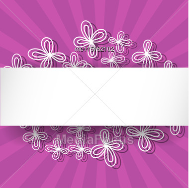 Violet Rays Background With Abstract White Flowers And Place For Text Stock Photo