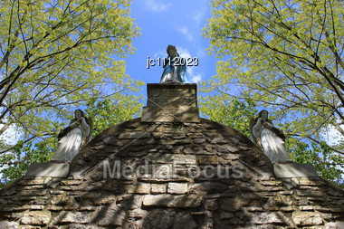 Virgin With Angels In A Church Statues Of Fishermen From The Basque Country In France Stock Photo
