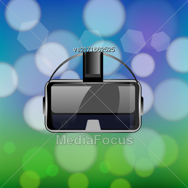 Virtual Reality Headset On Blurred Colorful Background Stock Photo