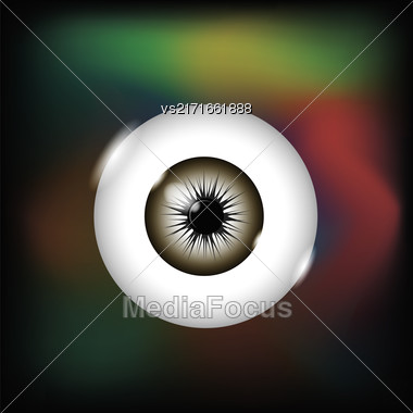 Vision Icon Isolated On Dark Colorful Background. Single Eye Symbol Stock Photo