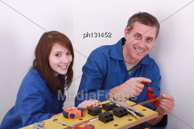 Vocational Training In Plumbing Stock Photo