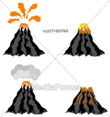Volcano Erupting Icons Isolated On White Background. Peak Of Mountain. Fiery Crater Of Volcano Stock Photo