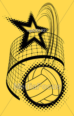 Volleyball Super Star Design Badge Or Logo. Vector Illustration With Halftone Effect Stock Photo