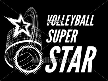 Volleyball Super Star Design Badge Or Logo. Vector Illustration On Black Stock Photo