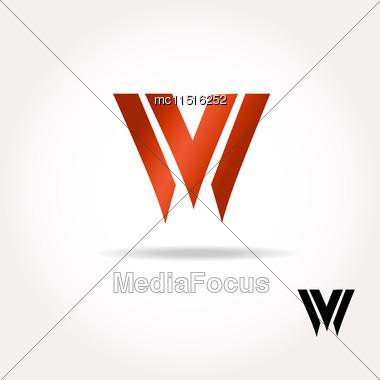 W Letter Bright Colors Logo - Vector Illustration, Easy Editable For Your Design. Business Logo Stock Photo