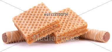 Wafers Or Honeycomb Waffles Isolated On White Background Stock Photo