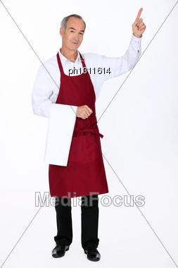 Waiter Pointing Stock Photo