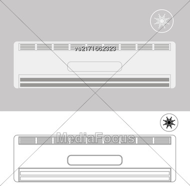 Wall-mounted Air Conditioner. Air Purifier. Air Conditioner On The Wall Stock Photo