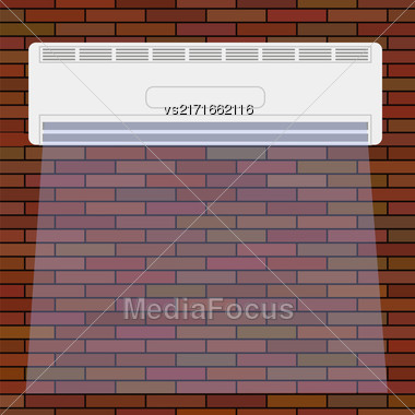 Wall-mounted Air Conditioner Icon. Air Purifier. Air Conditioner On The Red Brick Wall Stock Photo