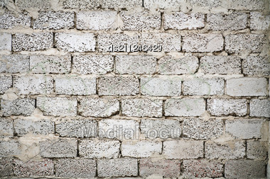 Wall Of The Grey Brick Pattern Background Stock Photo