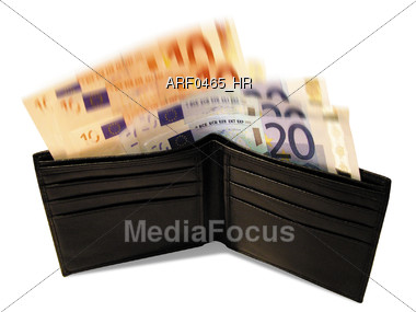 Wallet Full Of EUROs Stock Photo