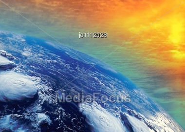 Warming By The Sun Of The Planet Earth Stock Photo