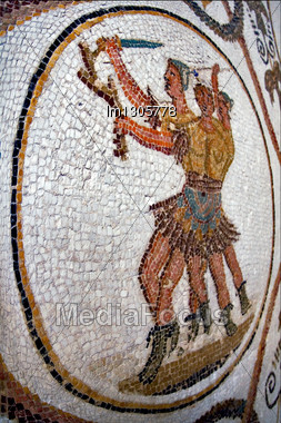 Warrior Mosaic Piece Of Ceramics In The Monument Museum Of The Bard Tunisia Stock Photo