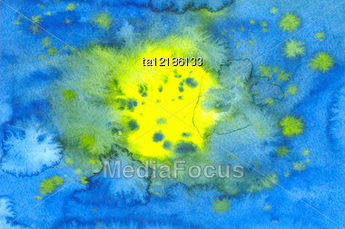 Water Color Abstract Picture In Blue And Yellow Colors Stock Photo