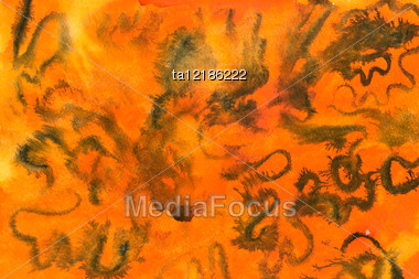 Water Color Abstract Picture In Orange And Black Colors Stock Photo
