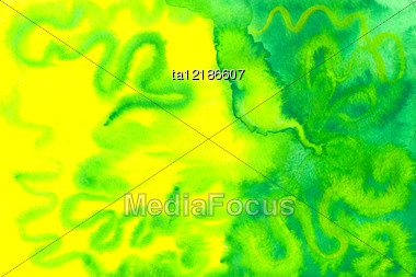 Water Color Abstract Picture In Yellow And Green Colors Stock Photo