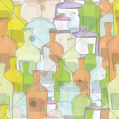 Water Color Bottles Seamless Background Stock Photo