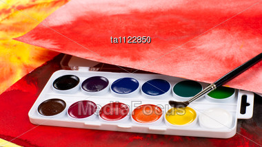 Water Color Paints, Paintbrush And Abstract Drawings Stock Photo