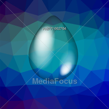 Water Drop Icon Isolated On Blue Polygonal Background Stock Photo