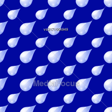 Water Drops Seamless Pattern On Blue Background Stock Photo