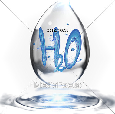 Water Formula In A Water Drop Stock Photo