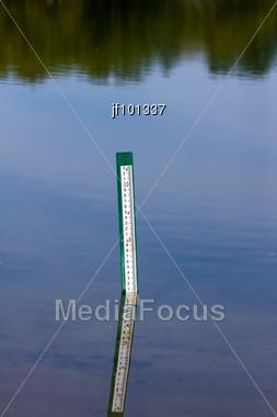 Water Level Measurement Gauge Stock Photo